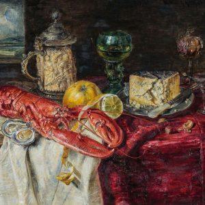 Natura morta con aragosta, calice d'argento con avorio, gorgonzola, frutta e ostriche. Hermann J. Gottlieb Kricheldorf (www.the-saleroom.com)