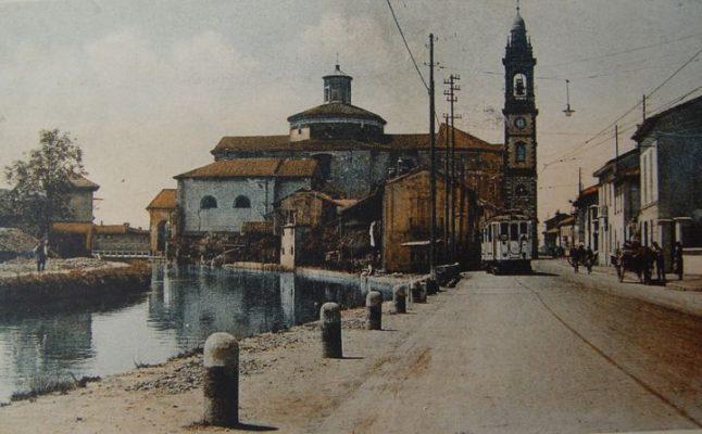 Cartolina via Serbelloni a colori, dal sito ProLoco Gorgonzola