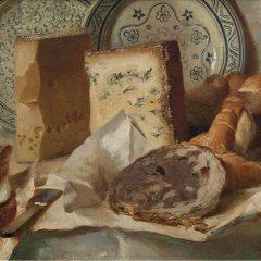 Cesare Tallone, Gorgonzola, Groviera e pani sul tavolo