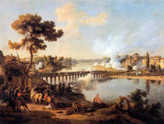 Louis-François, Baron Lejeune. La carica decisiva francese nella battaglia di Lodi. Sullo sfondo è visibile la cavalleria di Ordener guadare l'Adda. Foto da Wikipedia